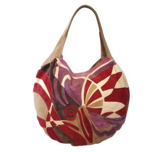 LUCKY BRAND SUEDE PATCH HOBO BAG
